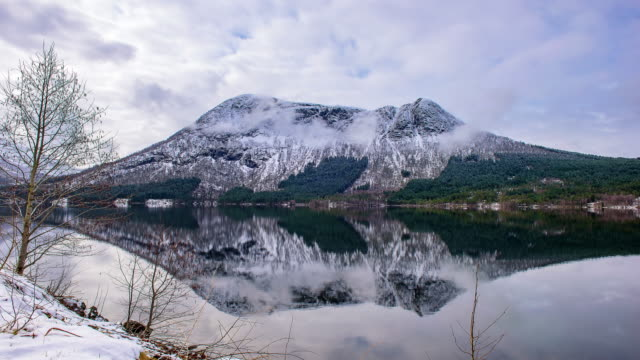 time lapse: winter landscape snowy mountains. lofoten norway - season stock videos & royalty-free footage