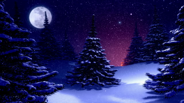 winter landscape with christmas tree decorated by polar star - christmas tree stock videos & royalty-free footage