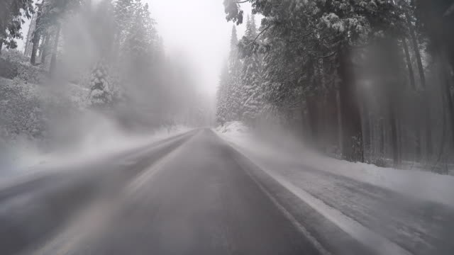 a winter lanscape in yosemite national park with trees and beautiful scenery. - yosemite national park stock videos and b-roll footage