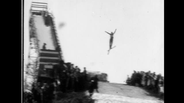 winter olympic games at lake placid ski jumping on january 01 1932 in lake pacid new york - ski jumping stock videos and b-roll footage