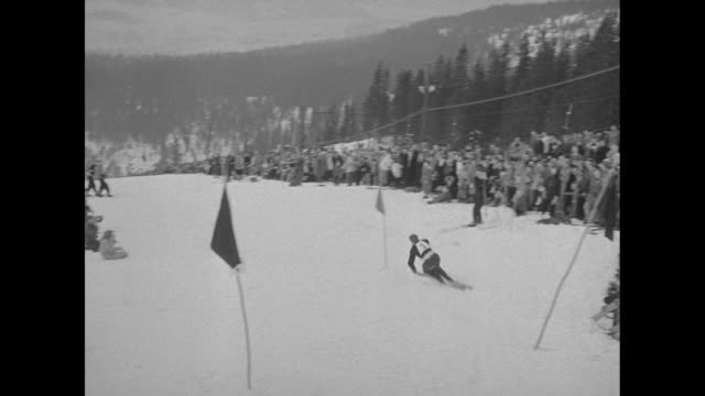 29de92c7f0f Winter Olympics in Oslo   aerials of large crowd at men s downhill skiing  event   Austria s