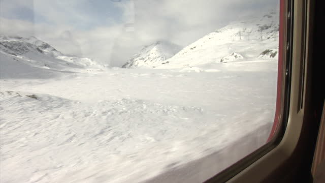 Winter on the Bernina railway between Alp Grüm and Ospizio Bernina