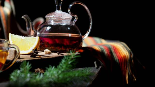 winter orange tea - sugar cube stock videos & royalty-free footage