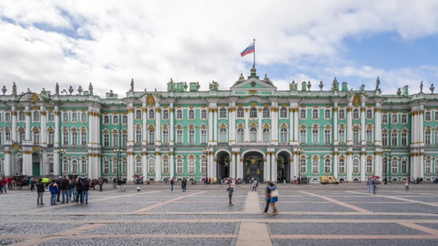 T/L WS PAN Winter Palace and the Hermitage Museum / Saint Petersburg, Russia