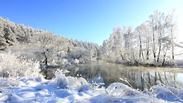 winter river landschaft  - wolkenloser himmel stock-videos und b-roll-filmmaterial