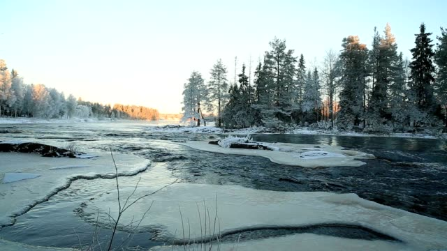 Winter river rapids