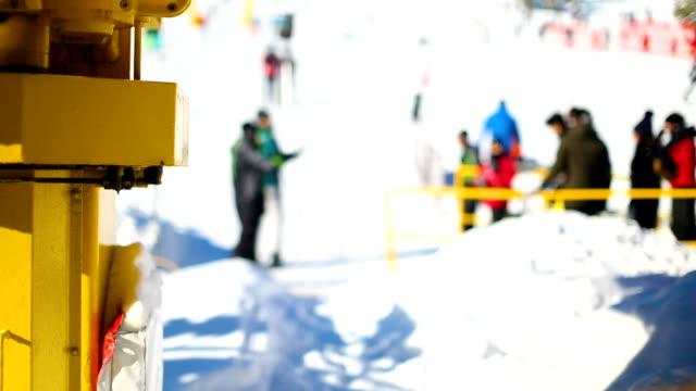 Winter scene. Close-up details of ski lift on work