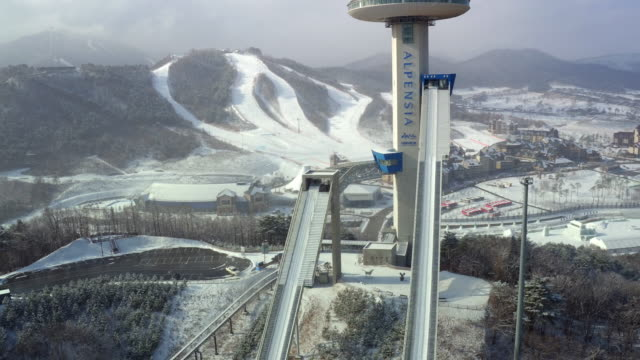 winter scenery of alpensia resort / pyeongchang-gun, gangwon-do, south korea - ski slope stock videos & royalty-free footage