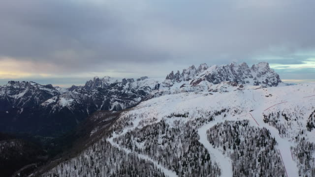 winter scenery of dolomites, italy - snowcapped mountain stock videos & royalty-free footage