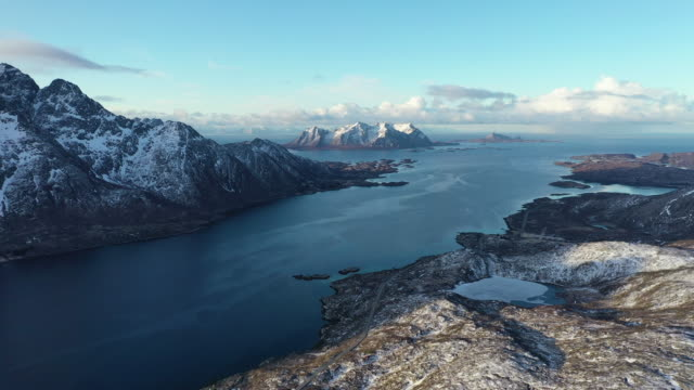 stockvideo's en b-roll-footage met winter scenery of lofoten islands / norway - nationaal monument beroemde plaats