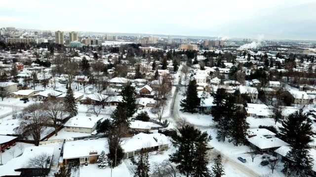 winter scenery of the toronto city from the bird eye. - housing development stock videos & royalty-free footage