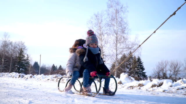 winter sleigh ride - winter video stock e b–roll