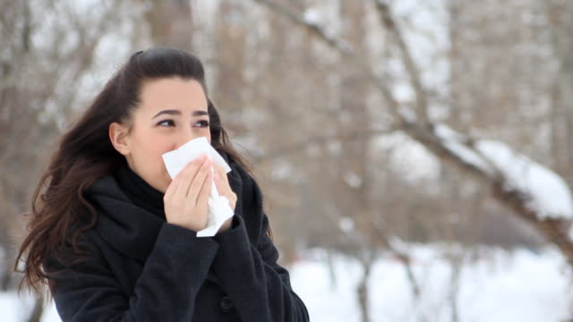 winter snezzing - facial tissue stock videos & royalty-free footage