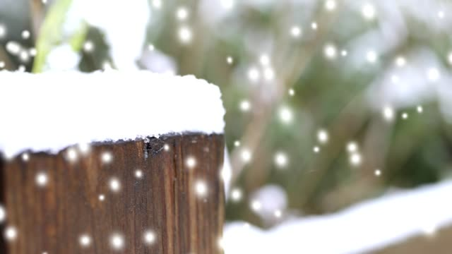 vidéos et rushes de neige d'hiver qui tombe sur le paysage extérieur avec poteau de clôture. - poteau en bois