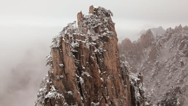 winter snow in the yellow mountains, huangshan, anhui province, china, asia,  - peter snow stock videos & royalty-free footage