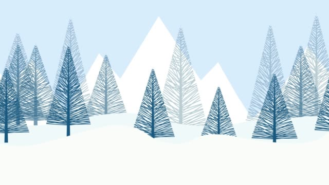 Winter snow landscape background with fir trees. cartoon 2D animation. Loop footage 4k