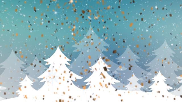 冬雪景色ループ hd - クリスマスカード点の映像素材/bロール