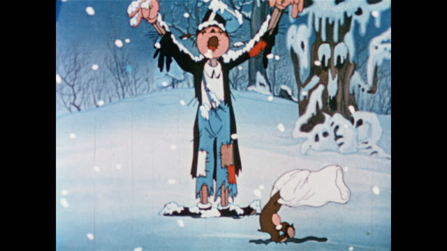 Winter storm comes and turns scarecrow into snowman as little bear cub looks on and old man winter shows up