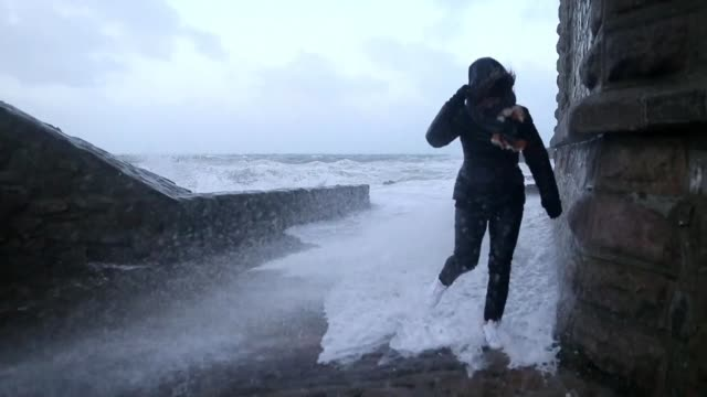 winter storm eleanor sweeps into france belgium and the netherlands after tearing through england and northern ireland cutting power to tens of... - la manche stock videos and b-roll footage