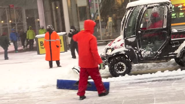 Winter storm Jonas on January 23 2016 / Clean Up during east coast blizzard in Times Square during the morning Midtown Manhattan Broadway and 7th...