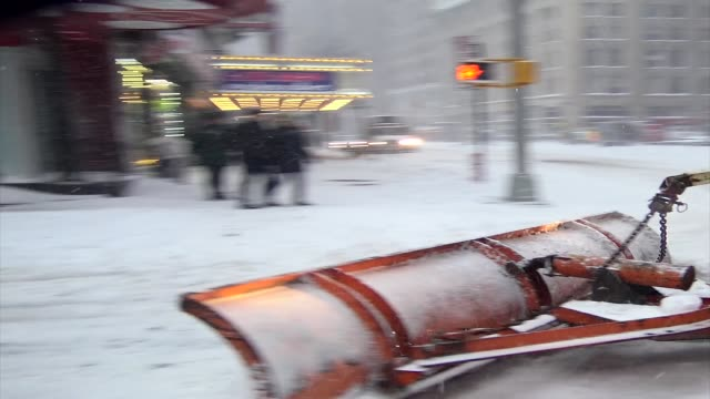 Winter storm Jonas on January 23 2016 / Sanitation department cleans up during east coast blizzard in Times Square during the morning Midtown...