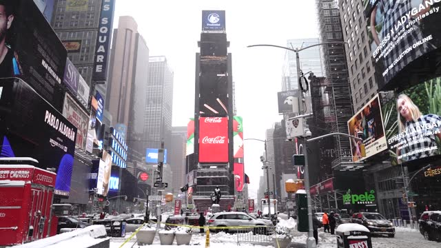 winter storm move through times square on december 17, 2020 in new york, the morning after a powerful winter storm hit the us northeastern states. -... - thursday stock videos & royalty-free footage