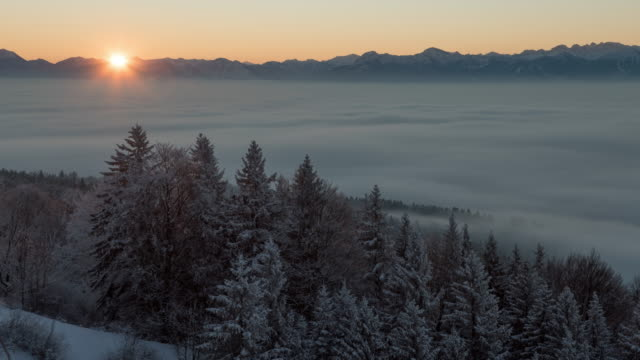 winter sunrise above fog - kälte stock-videos und b-roll-filmmaterial