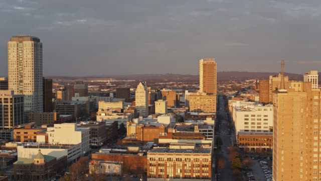 winter sunset in birmingham, alabama - drone shot - south stock videos & royalty-free footage