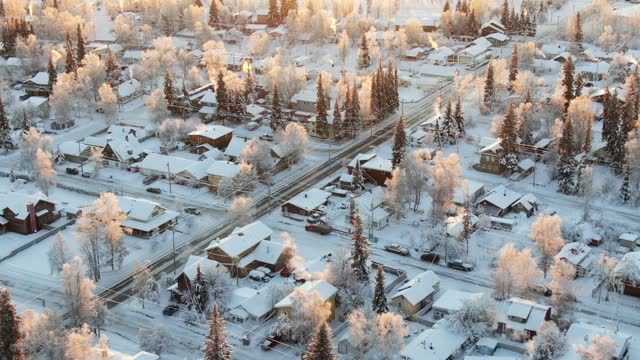 vídeos de stock, filmes e b-roll de winter sunset in fairbanks. aerial footage. - forma da água