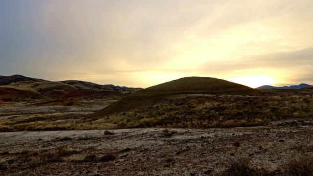 Winter sunset in the Painted hills and clouds John Day Fossil Beds National Monument National Park 1