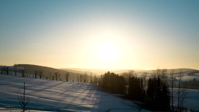 winter sunset ore mountains - saxony stock videos & royalty-free footage