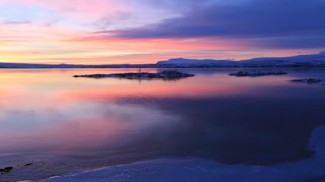 Winter Sunset over Pingvallavatn lake, Pingvellir National Park, southwestern Iceland