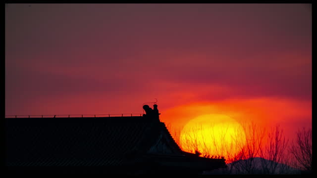 winter sunset time lapse video of the summer palace in beijing. footage by: costfoto / barcroft studios via getty images - multiple image stock videos & royalty-free footage