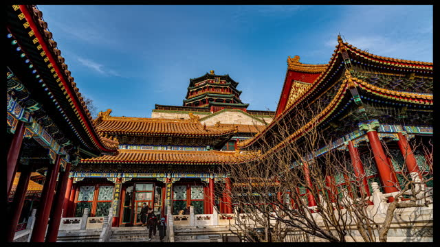 winter sunshine view time lapse video of the summer palace in beijing. footage by: costfoto / barcroft studios via getty images - summer palace beijing stock videos & royalty-free footage