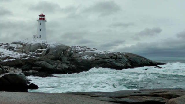 winter surf at peggys cove - nova scotia stock videos & royalty-free footage