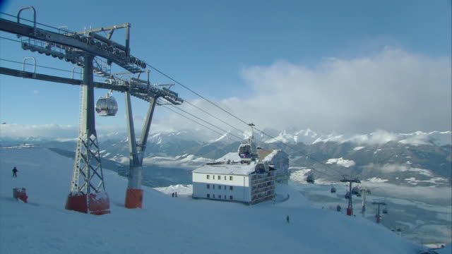 Winter time in the ski resort, lift system