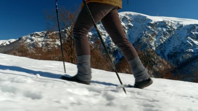 Winter Traveler, Medium Shot of One Young Woman Tourist Walking Through Deep Snow, Enjoying the Winter Mountain, Portrait, Winter Sport, Travel, Exploration, Adventure, Tourism, Determination, Athlete, Outdoors, Mountain Hiking, Backpacker, Alps