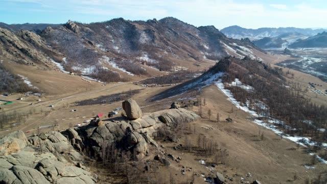 winter view of gorkhi-terelj national park in mongolia - mongolia video stock e b–roll