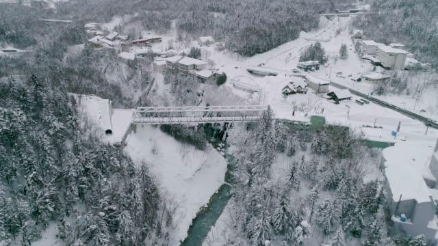 winter view of shirahige(white mustache) falls and bridge in biei, hokkaido, japan - biei town stock videos & royalty-free footage