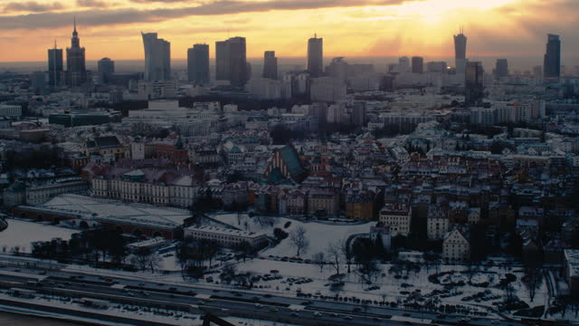 winter view of vistula riverside. warsaw skyline in background. drone point of view - warsaw stock videos & royalty-free footage
