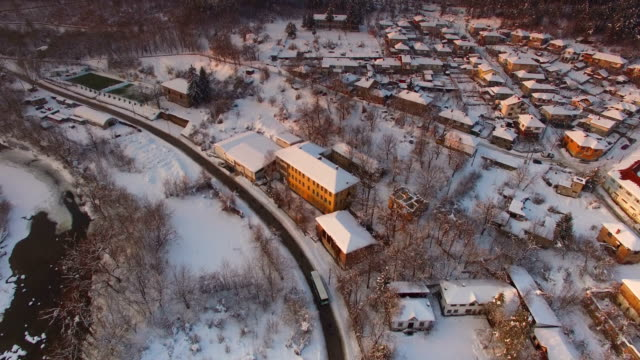 winter village covered in snow aerial view - calgary stock videos & royalty-free footage
