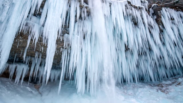 winter waterfall - slow motion - icicle stock videos & royalty-free footage