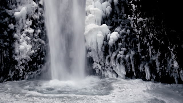hd winter waterfall - portland oregon snow stock videos & royalty-free footage