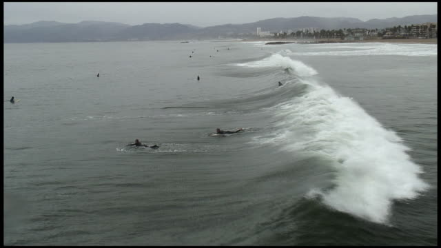 (hd1080) winter wave riders (surfers) - venice california stock videos & royalty-free footage