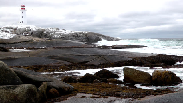 winter wind at peggys cove - nova scotia stock videos & royalty-free footage
