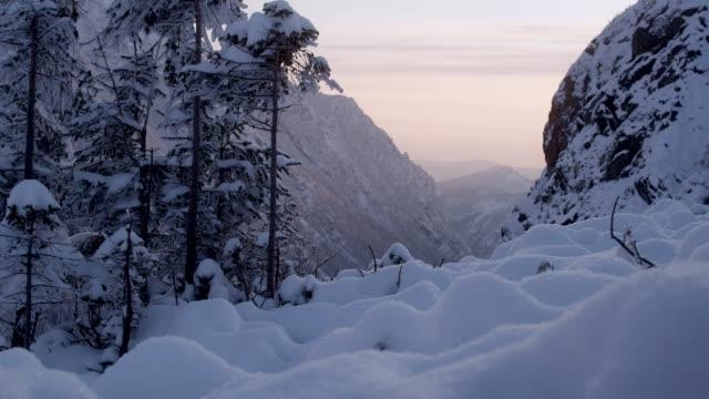 vídeos de stock, filmes e b-roll de país das maravilhas do inverno. paisagem nevado da montanha - coberto de neve