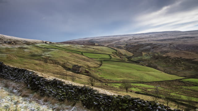 wintry day near colne, lancashire - time lapse - stone wall stock videos and b-roll footage