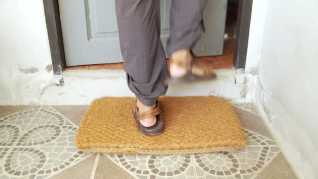 wipe feet before entering the house - welcome mat stock videos & royalty-free footage