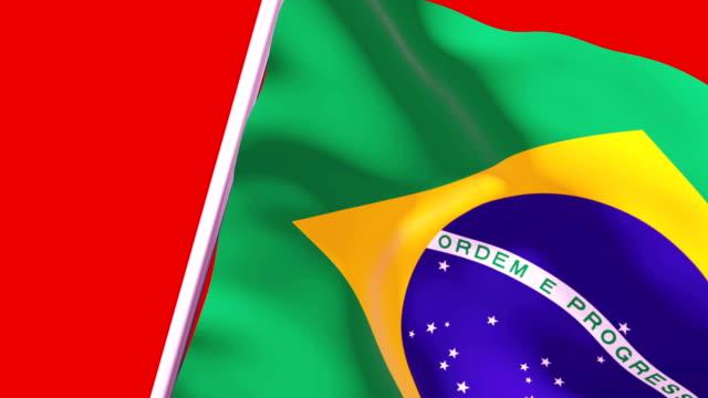 vídeos de stock e filmes b-roll de wipe transition flag of brazil 4k 60 fps - cut video transition