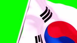 Wipe Transition Flag of South Korea 4K 60 Fps